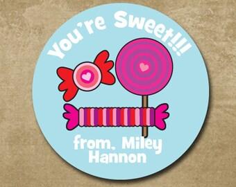 Happy Valentine's Day Stickers, Candy Stickers, Kids Valentine Round Sticker, Favor Treat Bag Stickers for School, Lollipop, Smarties