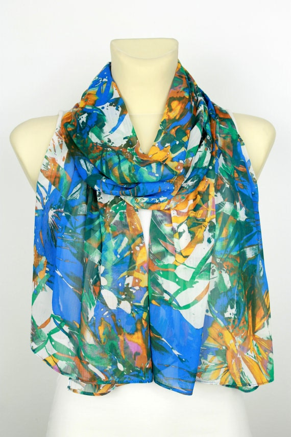 Floral Fashion Scarf - Blue Fabric Scarf - Women Printed Shawl - Unique Boho Scarf - Spring Accessories - Gift for women - Valentines Gift