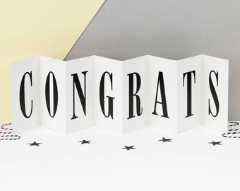 Congratulations Card; Well Done Congrats; Well Done Card; Black and White; Concertina Card; Banner Card; Keepsake Card; CC006