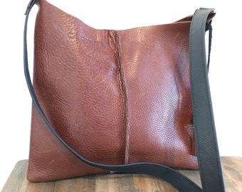 Leather messenger bag with tassels and BLACK straps, shoulder bag, tote, purse, crossbody bag