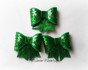 """Large Bows, Sequin Bow Knot Applique, Bows, Sequin bows, Green Bows - 3""""x2.7"""""""