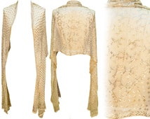 1920s Gold Scarf Bedouin Assuit Shawl Hand Tooled Moroccan Egypt Flapper Great Gatsby Crochet Hand Tatted Lace Wedding Boho Art Deco Bride