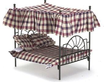 DOLLHOUSE MINIATURES BLACK Iron Canopy Bed #EIWF309