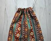 Drawstring Bag ethnic / Mochila de cordón étnica