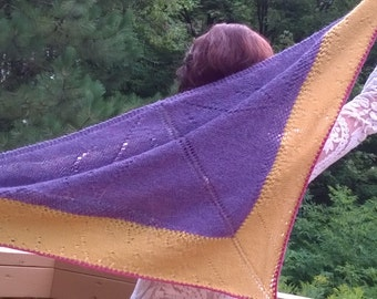 """Knitting pattern PDF to download Shawl """" Frizzle sizzle pansy"""" French and English version"""