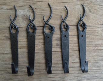 Set of 5 hand beaten wrought iron antler hooks coathook hanger door coat hook Y4