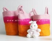 Pink and Orange storage basket Felt Storage Basket Wool Storage Bags Toy storage Laundry Basket Kids Bedroom Baby Girl gift Baby Box