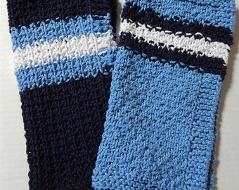 Blue Dishcloths, Knitted Dishcloths, Knit Dishcloths, Hand Knit Dishcloths, Kitchen Cloths, Stripes