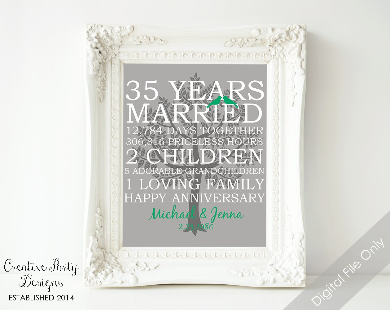 Best Gift For Wedding Anniversary For Parents: 35th Wedding Anniversary Gift 35th Anniversary Print
