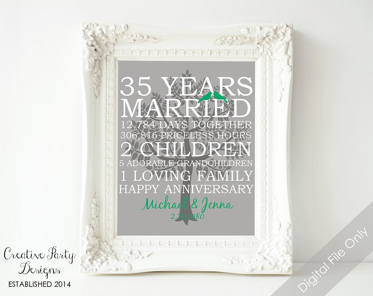 1 Year Wedding Anniversary Gift For Husband: 35th Wedding Anniversary Gift 35th Anniversary Print