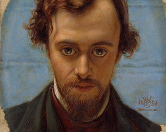 William Holman Hunt: Portrait of Dante Gabriel Rossetti. Fine Art Print/Poster. (002670)