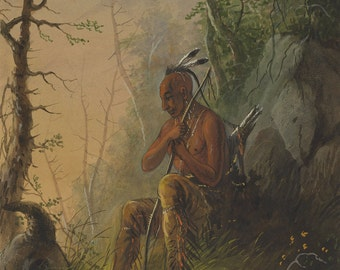 Alfred Jacob Miller: Sioux Indian at a Grave. Fine Art Print/Poster. (003856)