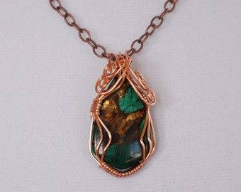 Turquoise and Golden Brown Imperial Jasper Pendant set in Copper Wire - Imperial Jasper Pendant
