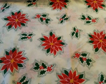 "Christmas Round Tablecloth Vintage 1980s Poinsettia 62"" Round"
