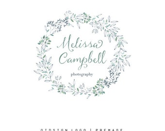 Premade Custom Festive Wreath Logo Design  Natural Small Business Branding  Natural Photography Branding  Watermark Design