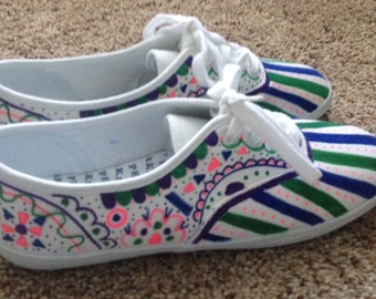 Canvas shoes with Sharpie designs