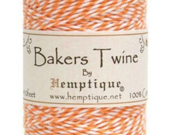 5 Meters Of Hemptique Bakers Twine In Orange & White. Twine, Crafting Supplies Decorations Gift Wrapping