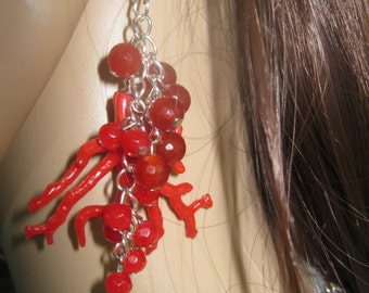 synthetic bamboo coral drop earrings with coral red