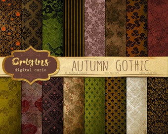 Autumn Gothic Digital Paper, rustic halloween scrapbook paper, vintage distressed grunge textures, floral rose lace damask skull patterns
