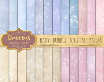 Baby Bubbles digital paper, bathtime printable scrapbook paper, pink textures, baby shower grunge distressed vintage backgrounds