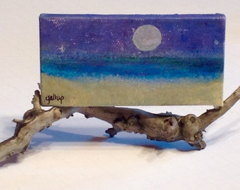 Miniature acrylic painting, mounted on driftwood