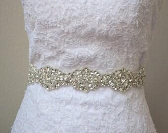 Full Length Crystal Bridal Belt with Clasp Closure, All-The-Way-Around Rhinestone Bridal Belt - Embellished Belt -Bridal Accessory b102