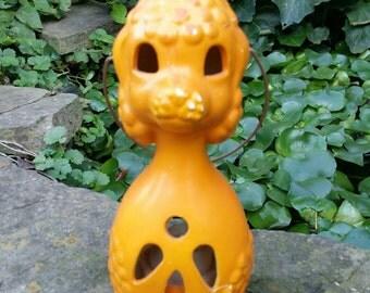 Vintage Dog Candle Holder, Halloween, Halloween Dog, Tea Light, Candle Lantern, Vintage Dog, Orange Dog, Ceramic Dog, Votive Holder, Poodle