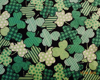 """Lucky Shamrock Three Leaf Clover Cotton Fabric Remnant - 22""""x32"""""""