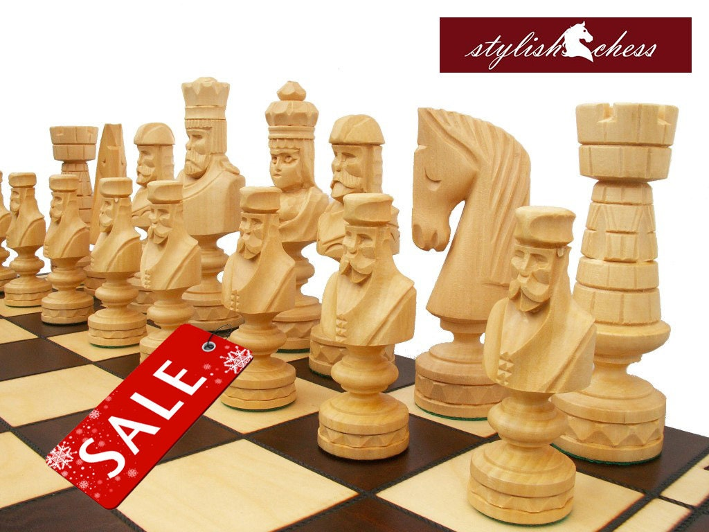 Giant Unique Handmade Wooden Chess Set 85x85cm By Stylishchess