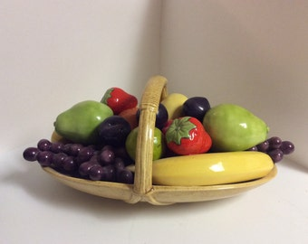 Vintage Ceramic Basket of Assorted Fruit
