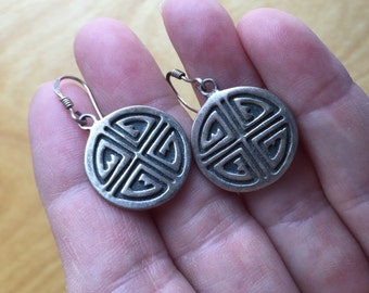 Native American Silver Overlay Earrings -- 15