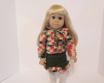 18 Inch Doll Clothes, American Made, Girl Doll Clothes, Peach and Olive, Doll Hoodie and Doll Skirt, Hand-Crocheted, #2454