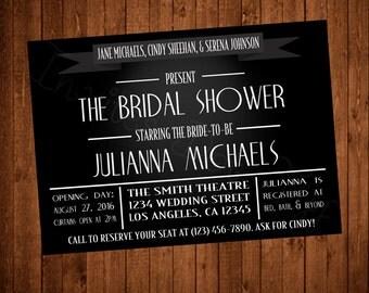 Vintage Old Hollywood Movie Bridal Shower Invite (Printable)