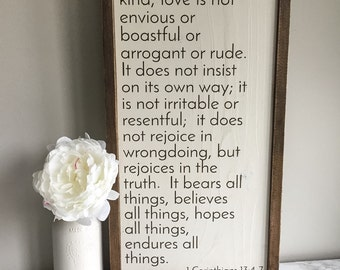 Love is patient - Corinthians 13 - wedding gift - wood sign - anniversary gift - home decor
