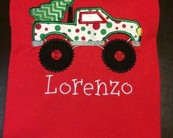 Monster Truck with Christmas tree; boys; seasonal; holiday