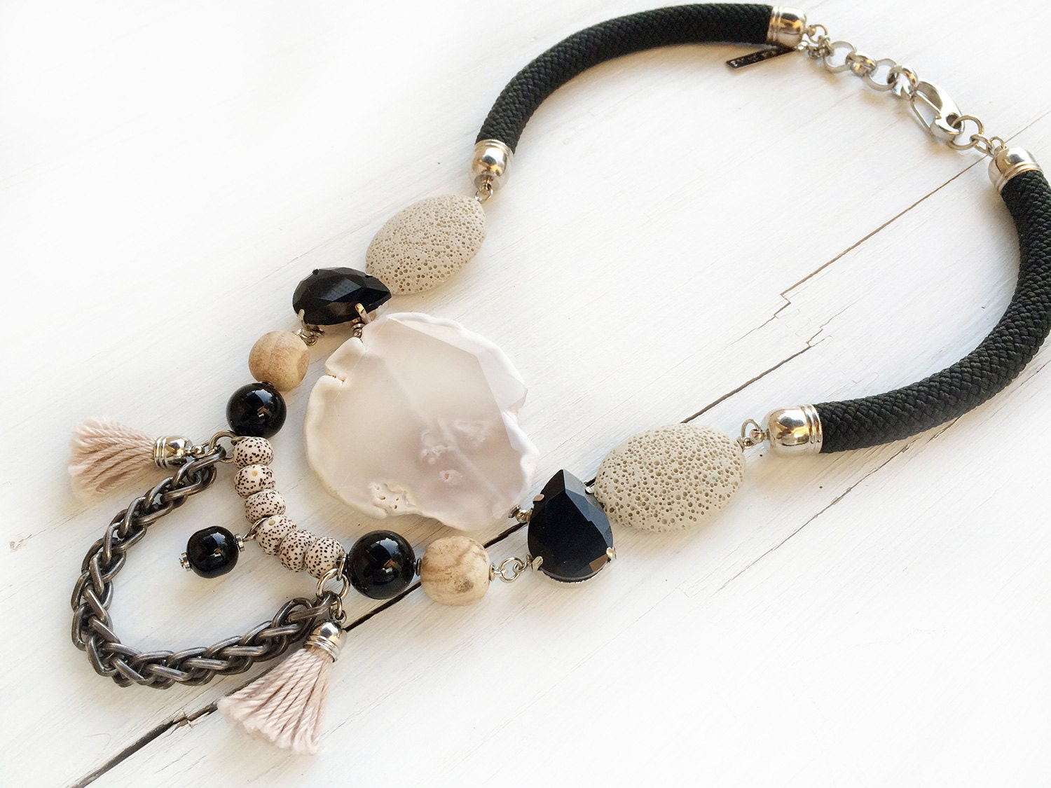 Black Starling Statement Necklace with big White Agate and