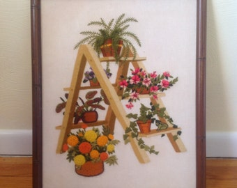 Vintage crewel work, embroidery, needlepoint, retro wall hanging, ladder and flowers, 1970s