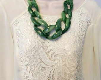 Kelly Tortoise Marbled Shell Green Chunky Chain Link Housewife Resin Statement Necklace Additional Colors Available
