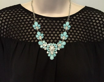 Mint Seafoam Aqua  Blue Crystal Sparkle Bib Chandelier Statement Necklace