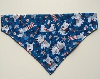 Stars & Stripes Patriotic Glitter Dog Over Collar Bandana
