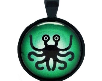 Atheist Logo, Flying Spaghetti Monster (Green) Pendant