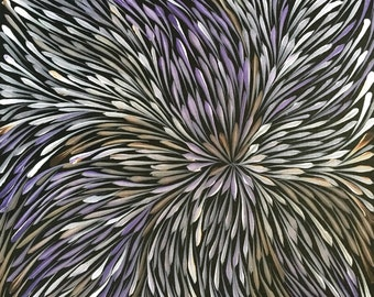 Wild flowers by Sacha Long of Utopia, Central Australia (30x30cm) - Aboriginal art - Acrylic on canvas - Unstretched