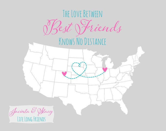 Valentines Long Distance Relationship - For Best Friend Gifts Birthday, Personalized Gift Idea BFF Far Away Sister Neon Bright Pink Sister