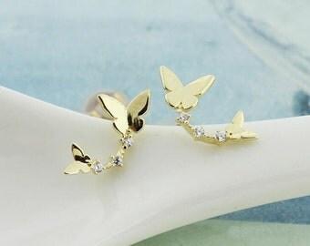 14K solid gold two butterflies earrings butterfly stud earrings