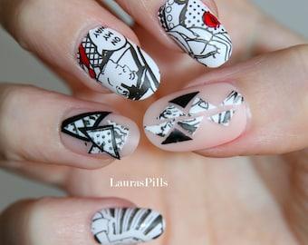 Comics false nails! Set of 20 fake nails. Comics, pop art, black and white, nude nails