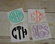 """2"""" Monogram Decal - Monogram Decal - 2 inch Decal - 2 in Sticker - Phone Sticker - Personalize Sticker - 99 cent Monogram - Wedding Gift"""