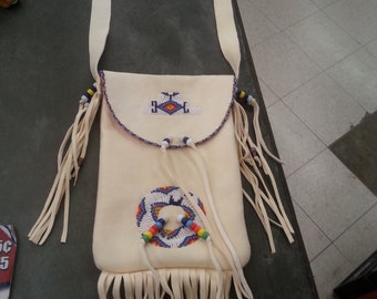 Native American Beaded leather purse By Douglas FastHorse of Oglala Lakota Sioux Handmade shoulder bag, Camera case, Cell phone bag, satchel