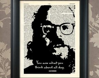Allen Ginsberg Quote, 2, Allen Ginsberg print, Ginsberg Poster, Allen Ginsberg art, Ginsberg quote, Ginsberg Wall Art, Poet, Beat generation