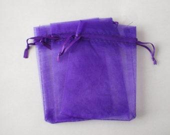 10 x small purple organza bags