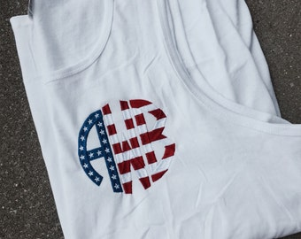 Patriotic Fourth of July Monogram Tank